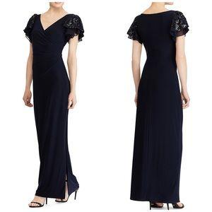 NEW Lauren RL Flutter Sequin Sleeve Evening Dress